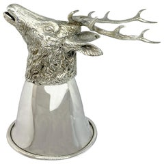 Sterling Silver Stirrup Cup 'Deer, part of a set of 12 different Wine Glasses'