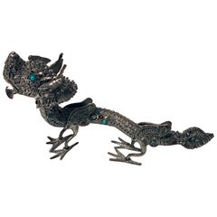 Sterling Silver Stone Inlay Dragon, Chinese, circa 1950