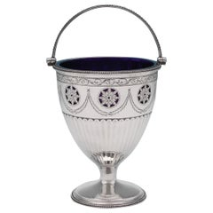 Neoclassical Antique Sterling Silver Sugar Basket With Glass Liner Made in 1783