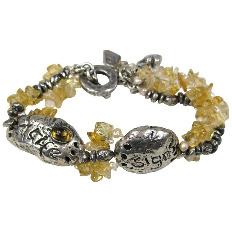 Women's Sterling Silver Susan Cummings Multi Strand bracelet. New, never worn 1980s For Sale