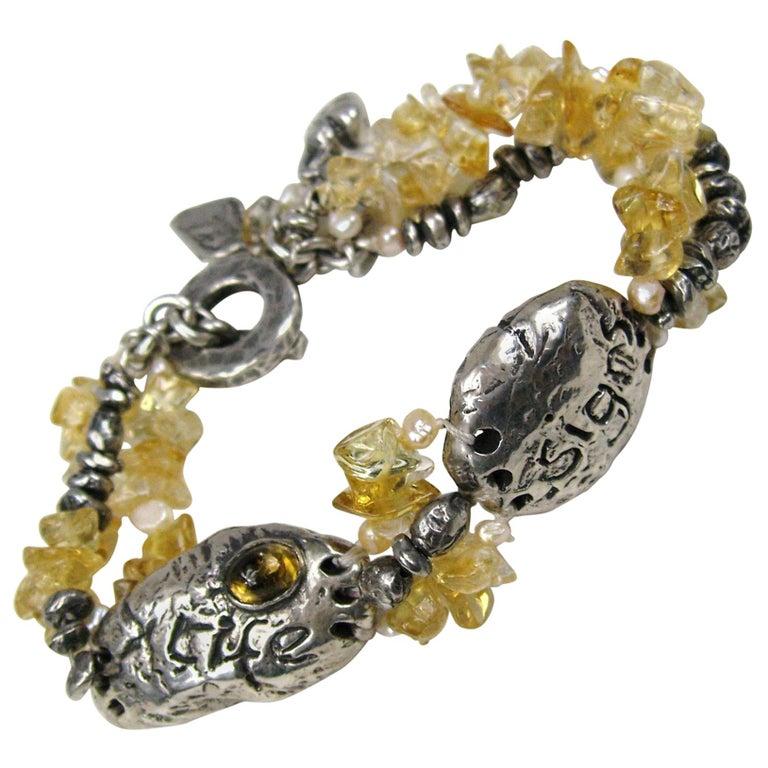 Sterling Silver Susan Cummings Multi Strand bracelet. New, never worn 1980s For Sale