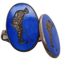 Sterling Silver Swivel Bar Blue Enamel Golfer Cufflinks