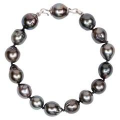 Sterling Silver Tahitian Pearls Beaded Bracelet