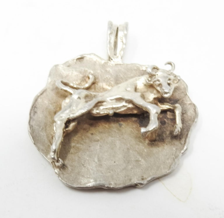 20th Century Sterling Silver Taurus Pendant, Vintage For Sale