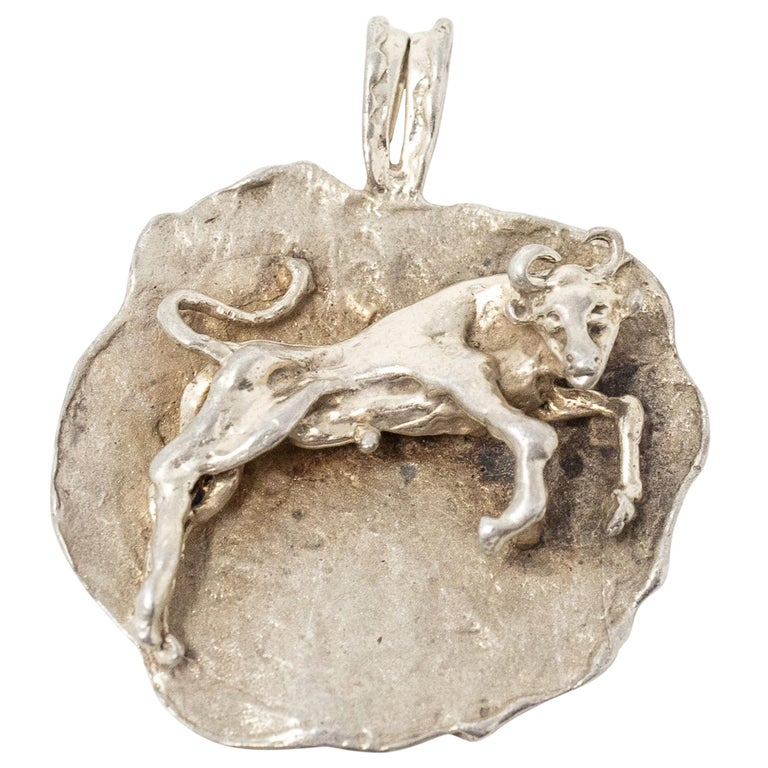 Sterling Silver Taurus Pendant, Vintage For Sale