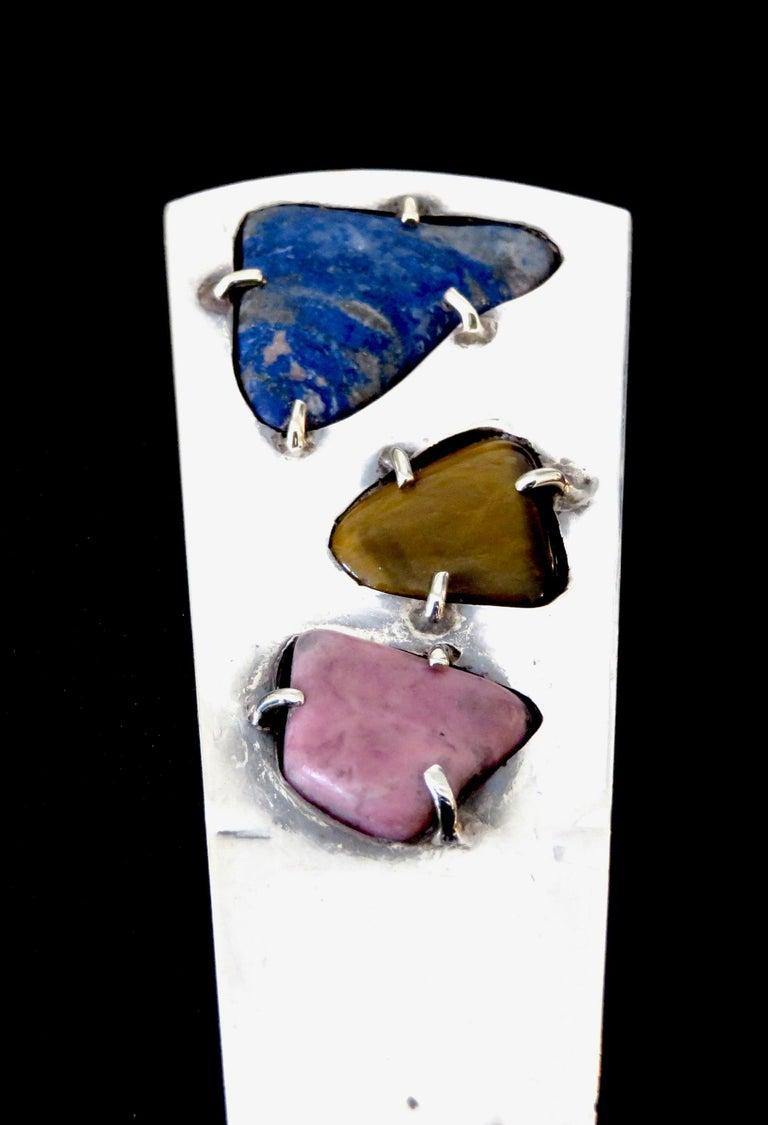 Sterling Silver Taxco Mexico Semi Precious Stones Letter Opener In Excellent Condition For Sale In Chicago, IL