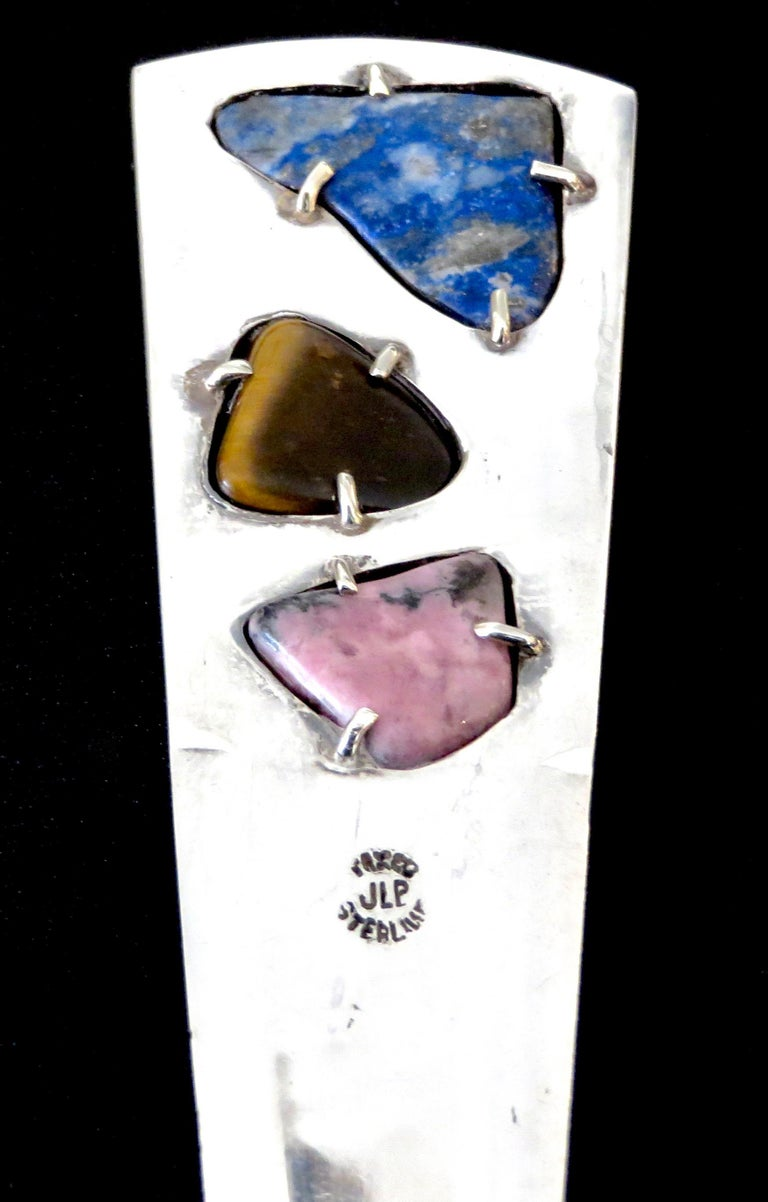 Mid-20th Century Sterling Silver Taxco Mexico Semi Precious Stones Letter Opener For Sale