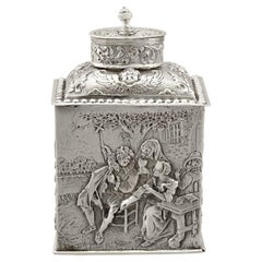 Sterling Silver Tea Caddy, Antique George V, '1925'