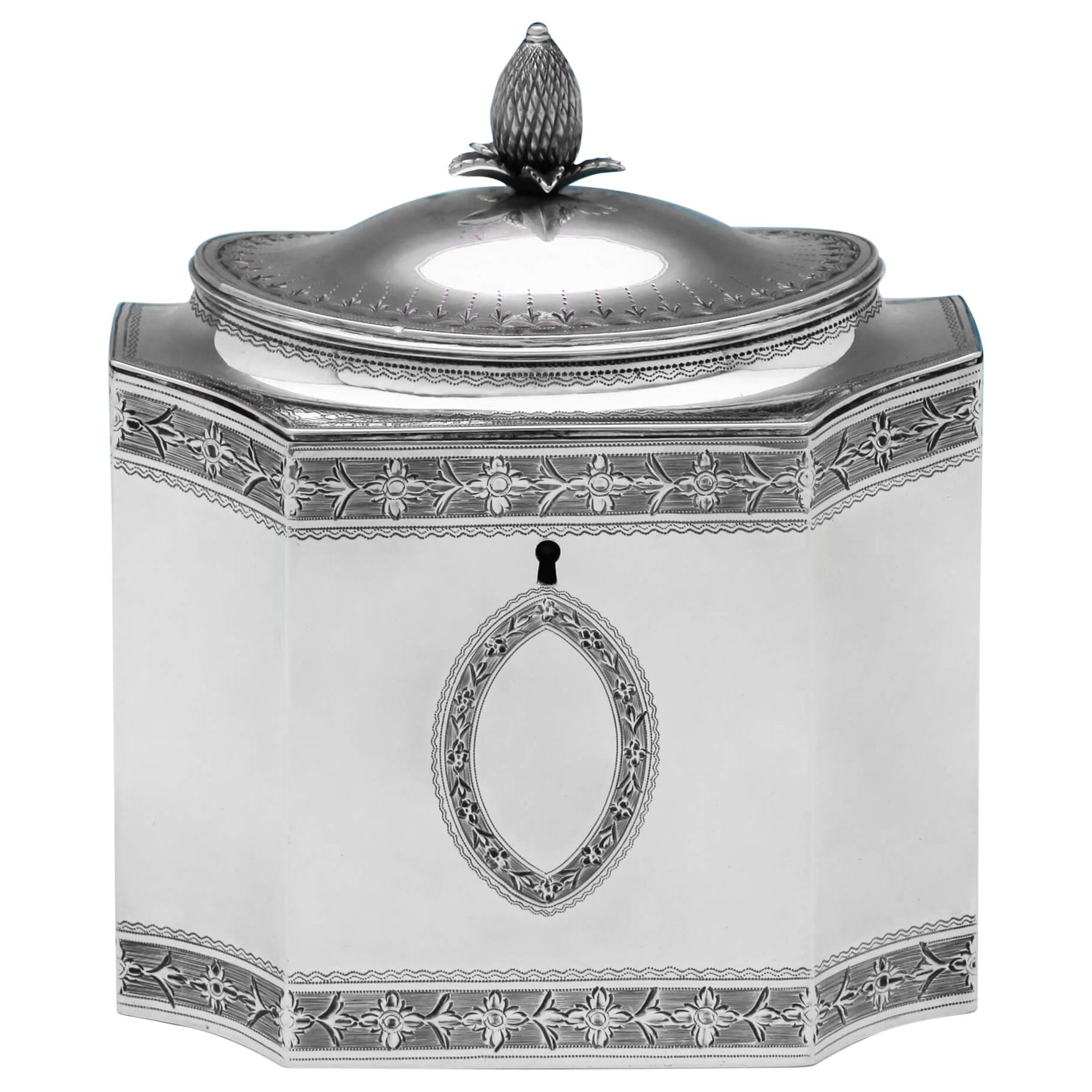 Neoclassical George III Antique Sterling Silver Tea Caddy by John Robins in 1790