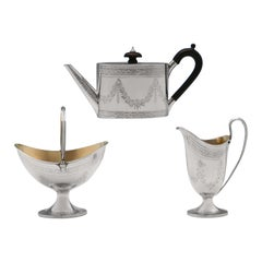 Neoclassical Revival Barnards Victorian Sterling Silver Tea Set from 1875