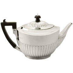 Sterling Silver Teapot, Queen Anne Style, Antique Victorian