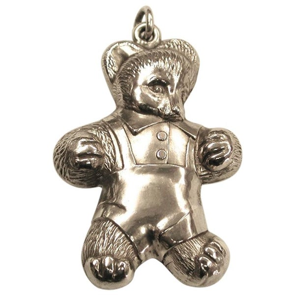 Sterling Silver Teddy Bear Rattle or Pendant, Dated 1962, Assayed in Birmingham