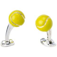 Deakin & Francis Sterling Silver Tennis Ball Cufflinks