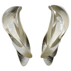 Sterling Silver Three Dimensional Leaf Earrings