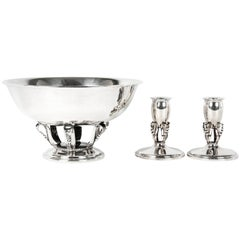Sterling Silver Three-Piece Footed Garniture, Set