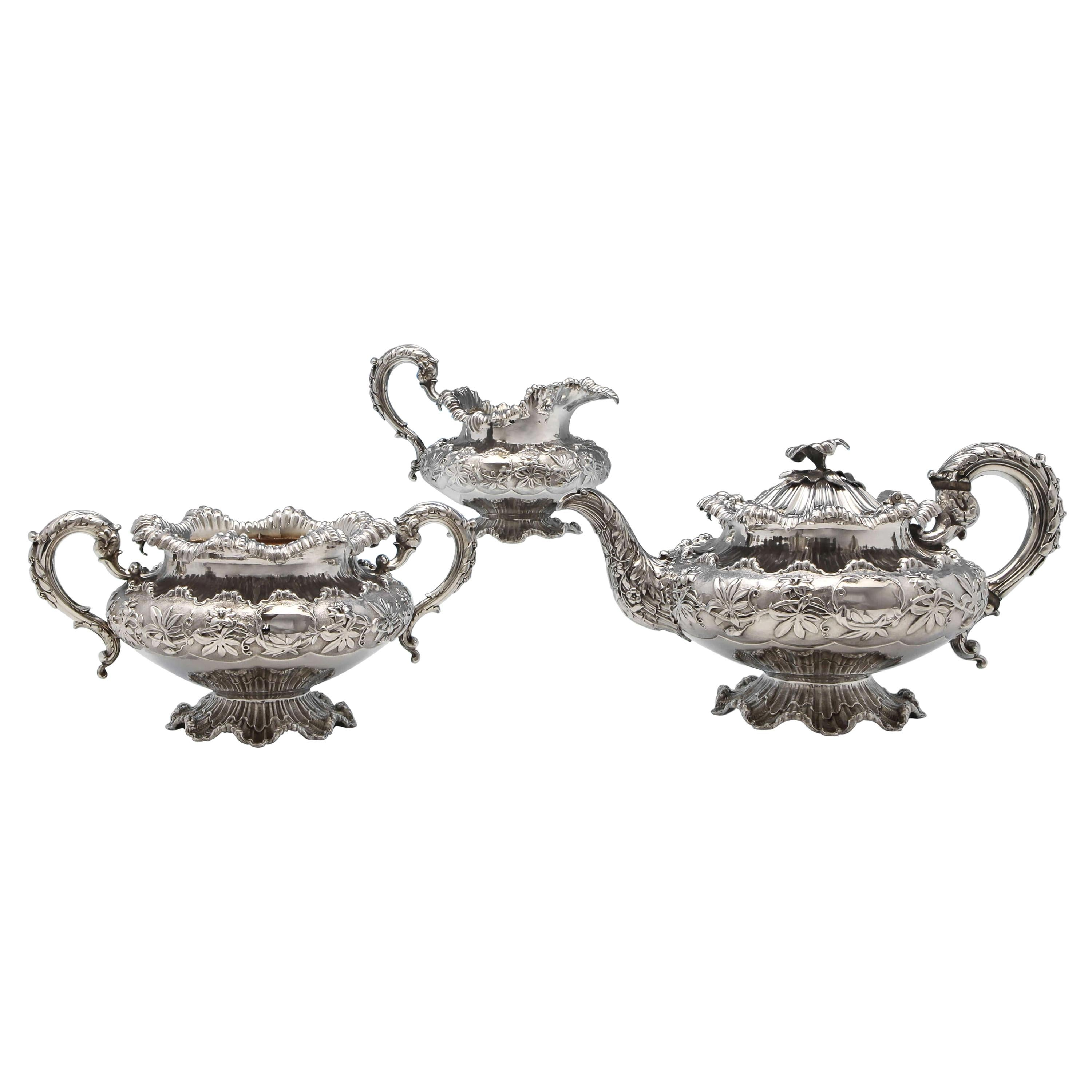 William IV Antique Sterling Silver Three-Piece 'Coral' Tea Set by Barnards