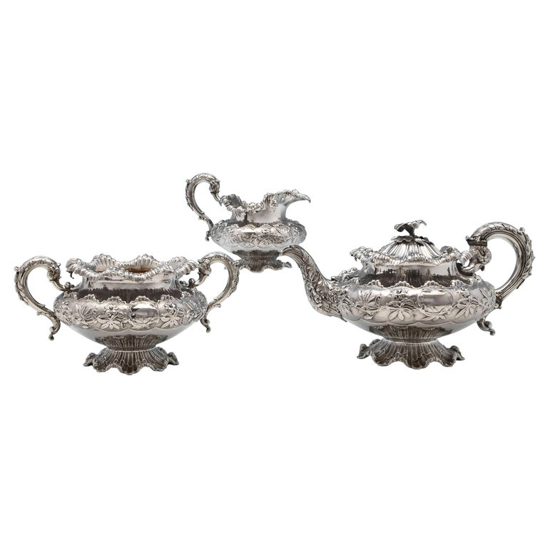 William IV Antique Sterling Silver Three-Piece 'Coral' Tea Set by Barnards For Sale