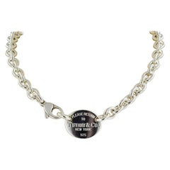 """Sterling Silver Tiffany & Co Oval Link """"Return To Tiffany"""" Necklace"""