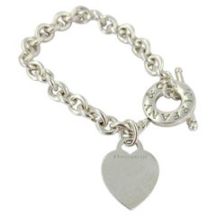 Sterling Silver Tiffany & Co Oval Link Toggle Bracelet with Heart Charm