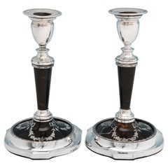 Neoclassical Revival Antique Tortoiseshell & Sterling Silver Candlesticks 1913