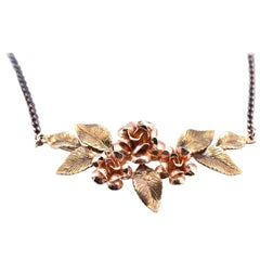 Sterling Silver Tri-Tone Floral Necklace