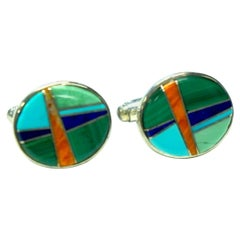 Sterling Silver, Turquoise, Coral, Lapis, Malachite Cufflinks