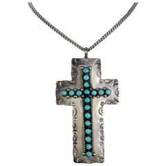 Sterling Silver Turquoise Cross Pendant Necklace Native American Zuni