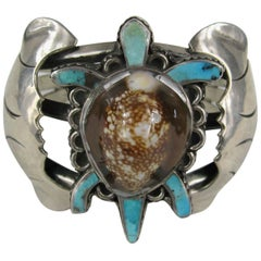 Sterling Silver Turquoise E.A. Zunie Pawn Turtle Shell Bracelet Native American