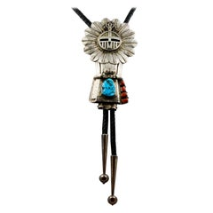 Sterling Silver Turquoise Eagle Feather Kachina Bolo