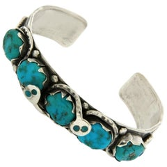Sterling Silver Turquoise Figural Snake Cuff Bangle Bracelet