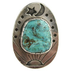 Sterling Silver Turquoise Galaxy Ring Sun Moon