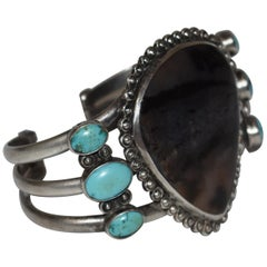 Sterling Silver Turquoise and Jasper Cuff Bracelet