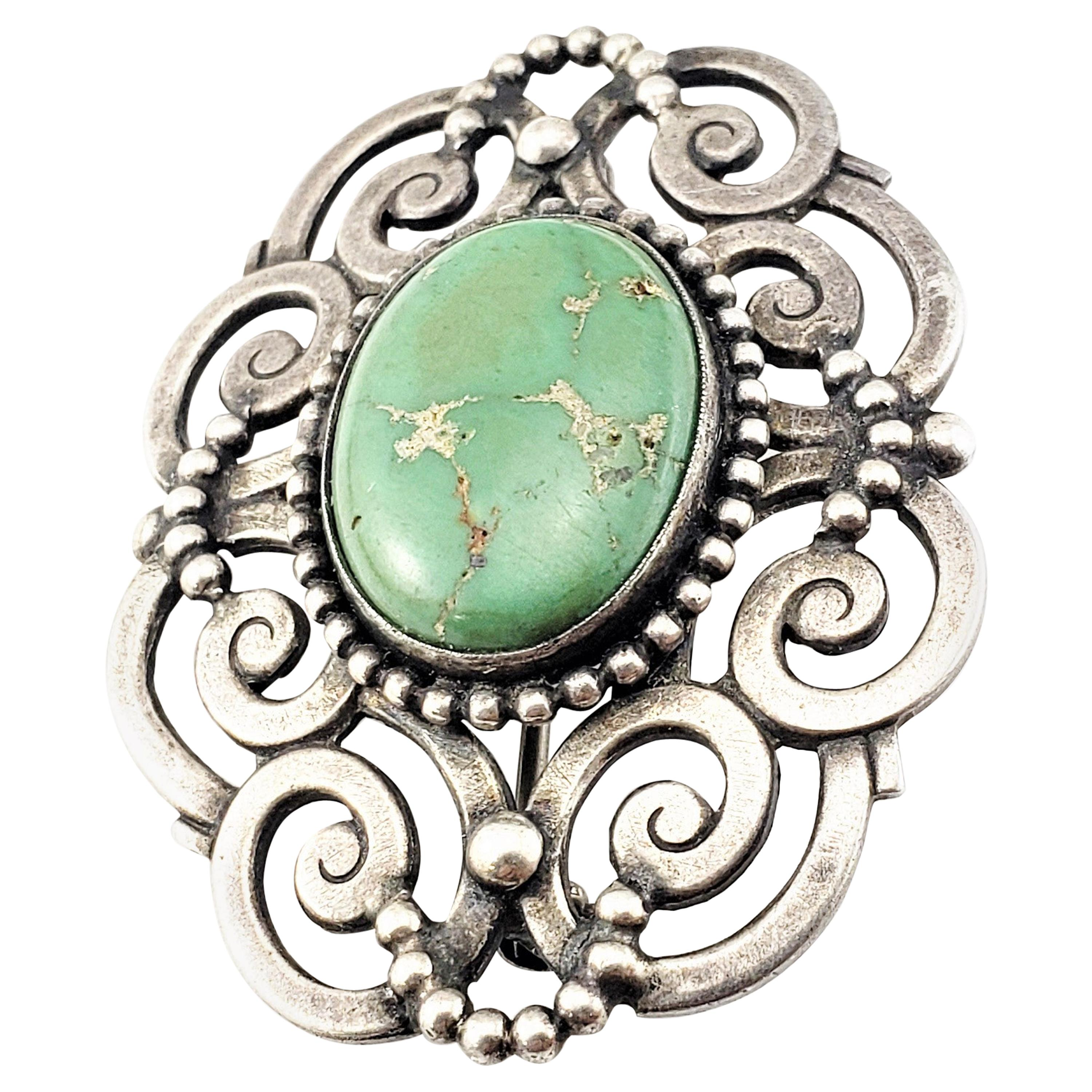 Sterling Silver Turquoise Open Work Scroll Brooch/Pin