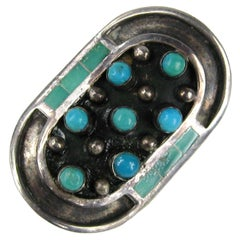 Sterling Silver Turquoise Shield  Ring Navajo Native American