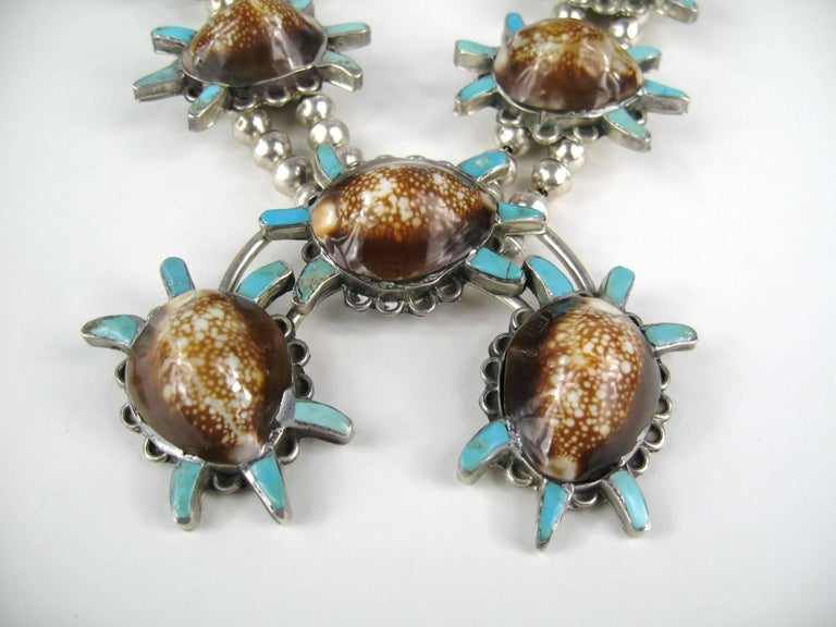 Sterling Silver Turquoise Turtle Squash Blossom Necklace E.A. Zunie Old Pawn  In Good Condition For Sale In Wallkill, NY