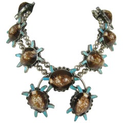 Sterling Silver Turquoise Turtle Squash Blossom Necklace E.A. Zunie Old Pawn