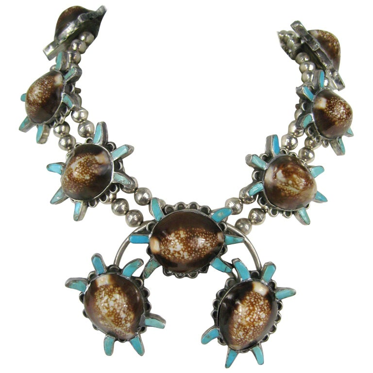 Sterling Silver Turquoise Turtle Squash Blossom Necklace E.A. Zunie Old Pawn  For Sale