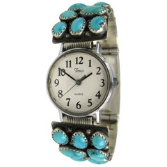 Sterling Silver Turquoise Wristwatch Native American Navajo