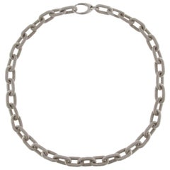 Sterling Silver Twisted Wire Chain Link Necklace