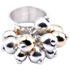 Sterling Silver Two-Tone Free Form Ball Ring