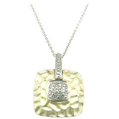 Sterling Silver Vermeil Diamond Pendant Necklace