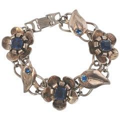 Sterling Silver Vermeil Flower Link Blue Stone Bracelet