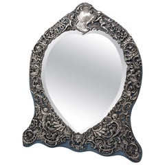 Sterling Silver Victorian Mirror with Elaborate Repousse Work