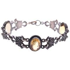 Sterling Silver Vintage Art Nouveau Citrine Bracelet