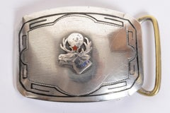 Sterling Silver Vintage B.P.O.E. Elks Belt Buckle circa 1920 Enameled Decoration