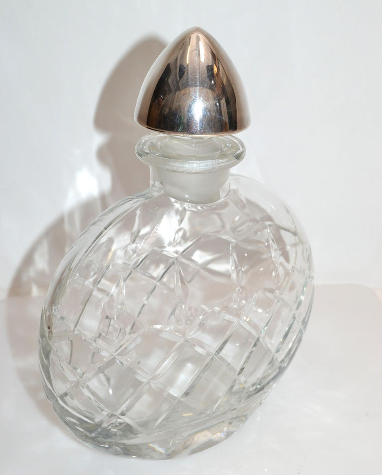 Mid-Century Modern Sterling Silver Vintage Clear Cut Art Glass Perfume Bottle with Silver Stopper For Sale