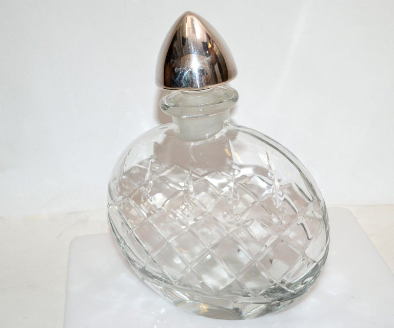 20th Century Sterling Silver Vintage Clear Cut Art Glass Perfume Bottle with Silver Stopper For Sale
