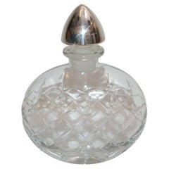 Sterling Silver Vintage Clear Cut Art Glass Perfume Bottle with Silver Stopper