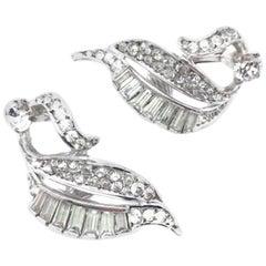 Sterling Silver Vintage Earrings Paste Fancy Cut Stones 1950s