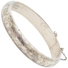 Sterling Silver Vintage Etched Bangle Bracelet